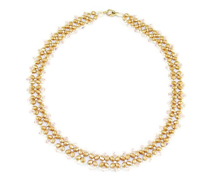 Gold and Cream Beaded Crystal Necklace -  - 1