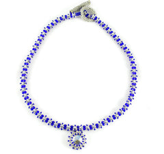 Cobalt Blue Necklace with Crystal Pendant -  - 4