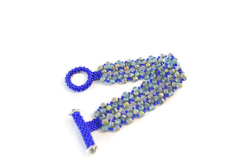 Cobalt Blue Melon and Crystal Beaded Bracelet