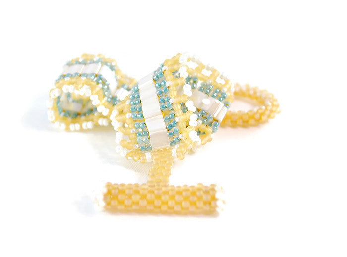 Cream, and Aqua Amber Tila Beaded Bracelet -  - 1