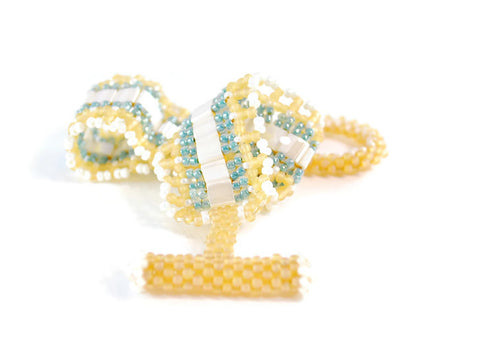 Cream, and Aqua Amber Tila Beaded Bracelet