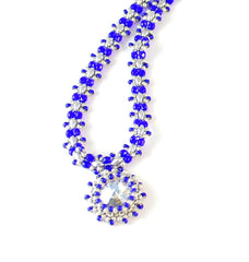 Cobalt Blue Necklace with Crystal Pendant -  - 3