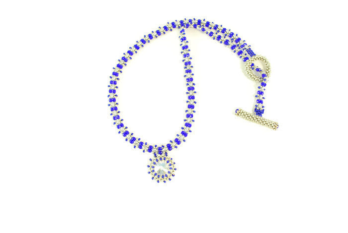 Cobalt Blue Necklace with Crystal Pendant -  - 1