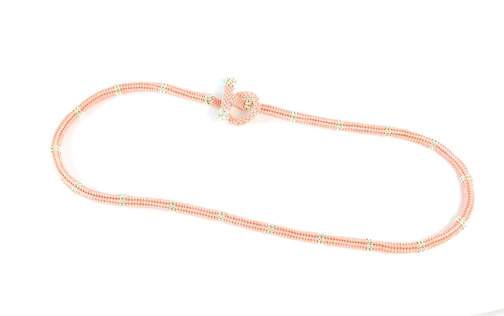 Pink and Silver Beaded Chain -  - 1