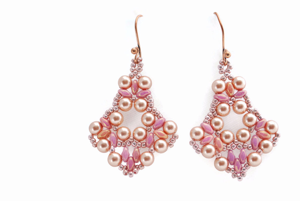 Pink Gold Pearl Earrings -  - 1