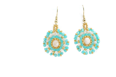 Turquoise and Cream Circle Earrings