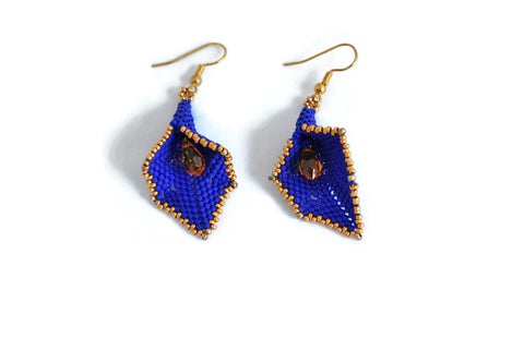 Cobalt Blue and Gold Beaded Calla Lily Earrings
