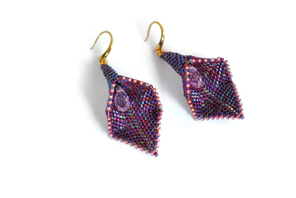 Purple and Pink Beaded Calla Lily Earrings -  - 1