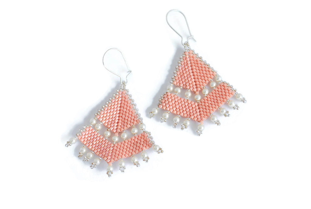 Pink Beaded Earrings -  - 1