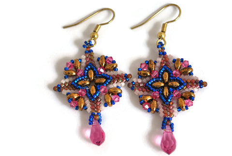 Pink and Cobalt Beaded Crystal Earrings