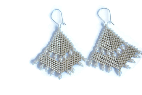 Silver and Pearl Triangle Beaded Earrings