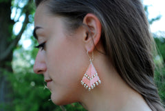 Pink Beaded Earrings -  - 5
