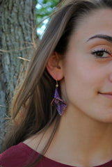 Purple and Pink Beaded Calla Lily Earrings -  - 5