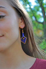 Cobalt Blue and Silver Beaded Calla Lily Earrings -  - 4