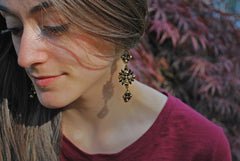 Bronze and Black Sparkly Beaded Earrings -  - 4