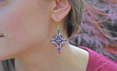 Pink and Cobalt Beaded Crystal Earrings -  - 4