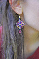 Pink and Cobalt Beaded Crystal Earrings -  - 3