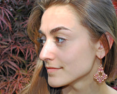 Pink Gold Pearl Earrings -  - 3