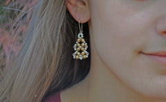 Brushed Gold and Crystal Earrings -  - 4