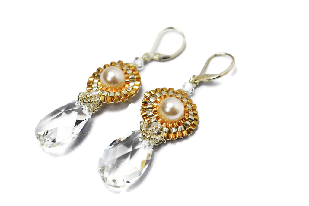 Pearl and Crystal Beaded Drop Earrings -  - 1