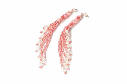 Peach Beaded Crystal and Pearl Tassel Earrings