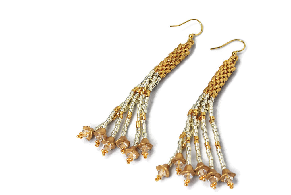 Silver and Gold Beaded Tassel Earrings -  - 1