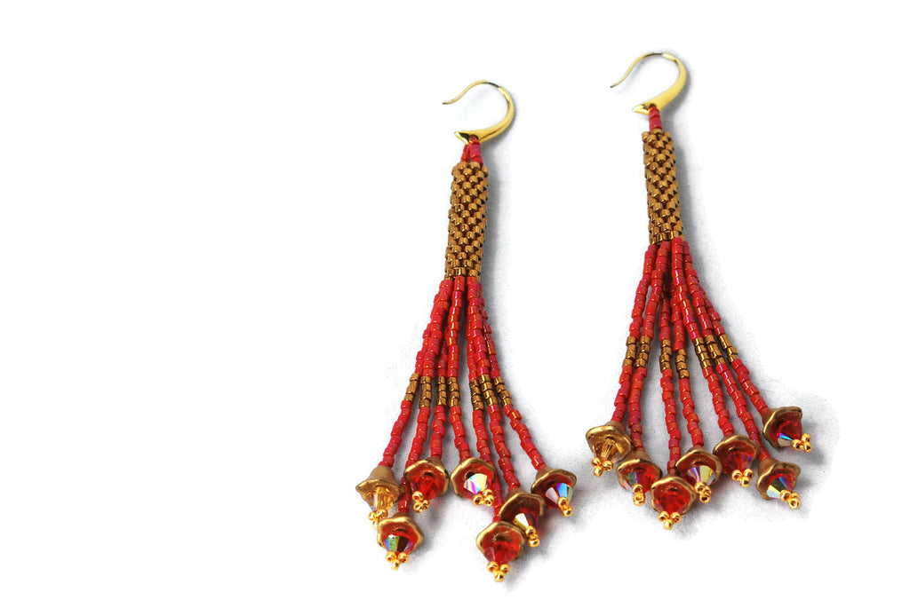 Red and Bronze Beaded Tassel Earrings -  - 1