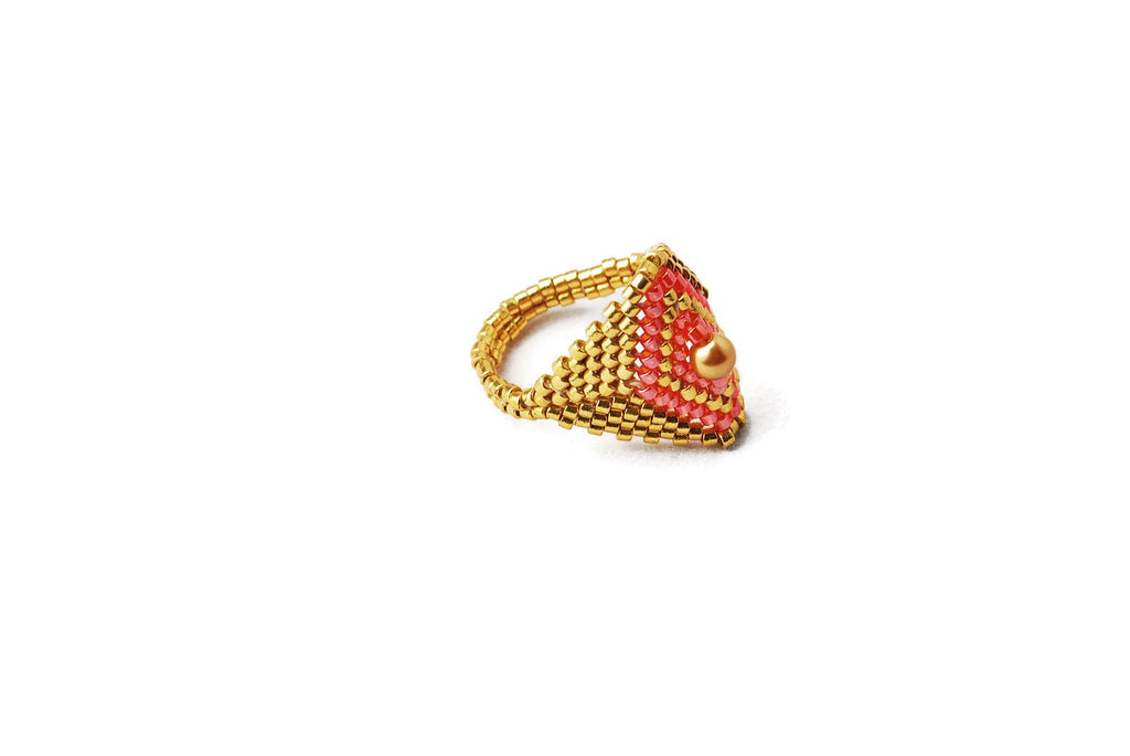 Gold and Red Beaded Diamond Shaped Ring -  - 1