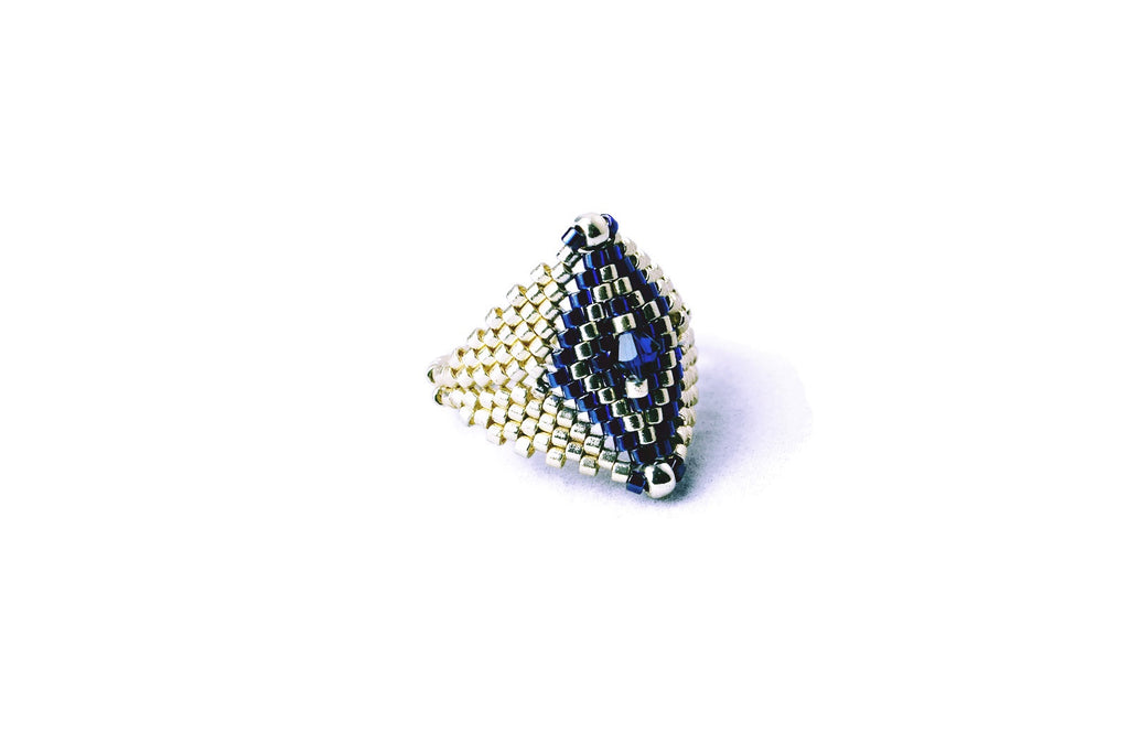 Silver and Blue Beaded Diamond Shaped Ring -  - 1