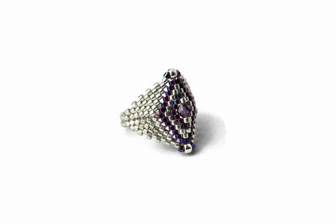 Silver and Purple Beaded Diamond Shaped Ring