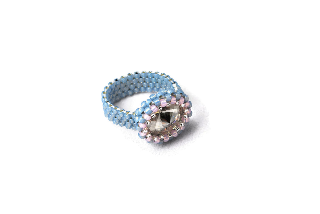 Beaded Blue Gray Clear Crystal Ring -  - 1
