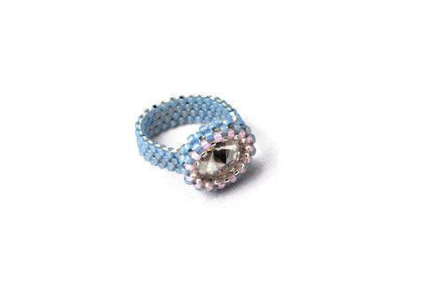 Beaded Blue Gray Clear Crystal Ring