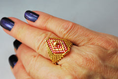 Gold and Red Beaded Diamond Shaped Ring -  - 5