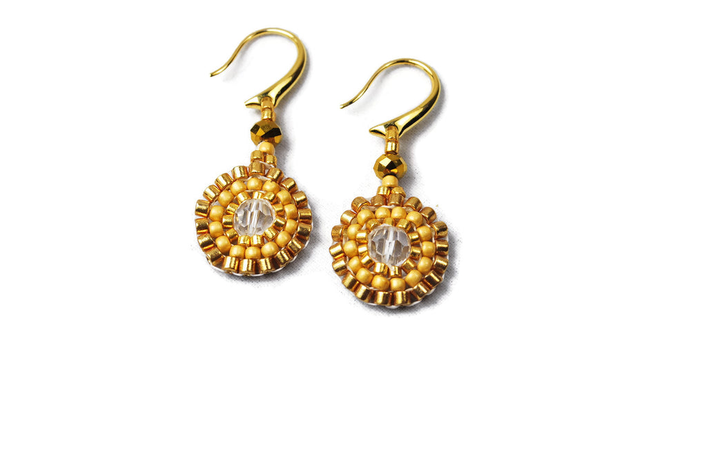 Gold Beaded Crystal Circle Earrings -  - 1
