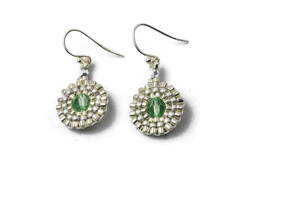 Silver Beaded Green Crystal Circle Earrings - Susanne Ferrante - 1