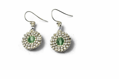 Silver Beaded Green Crystal Circle Earrings