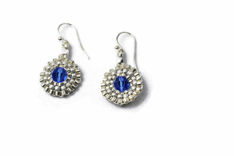 Silver Beaded Blue Crystal Circle Earrings