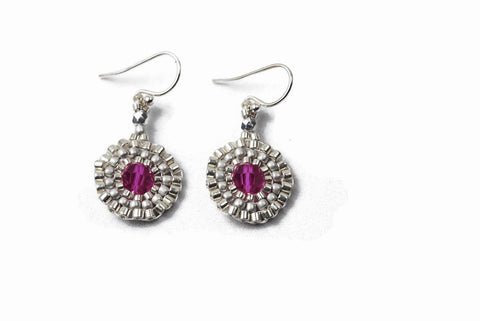 Silver Beaded Pink Crystal Circle Earrings