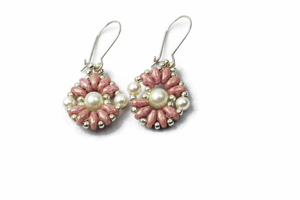 Pink and Silver Pearl Beaded Circle Earrings -  - 1