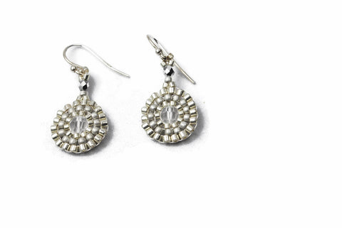 Silver Beaded Clear Crystal Circle Earrings