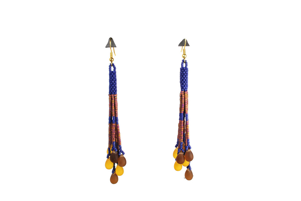 Cobalt Blue and Amber Beaded Tassel Earrings with Glass Drops -  - 1