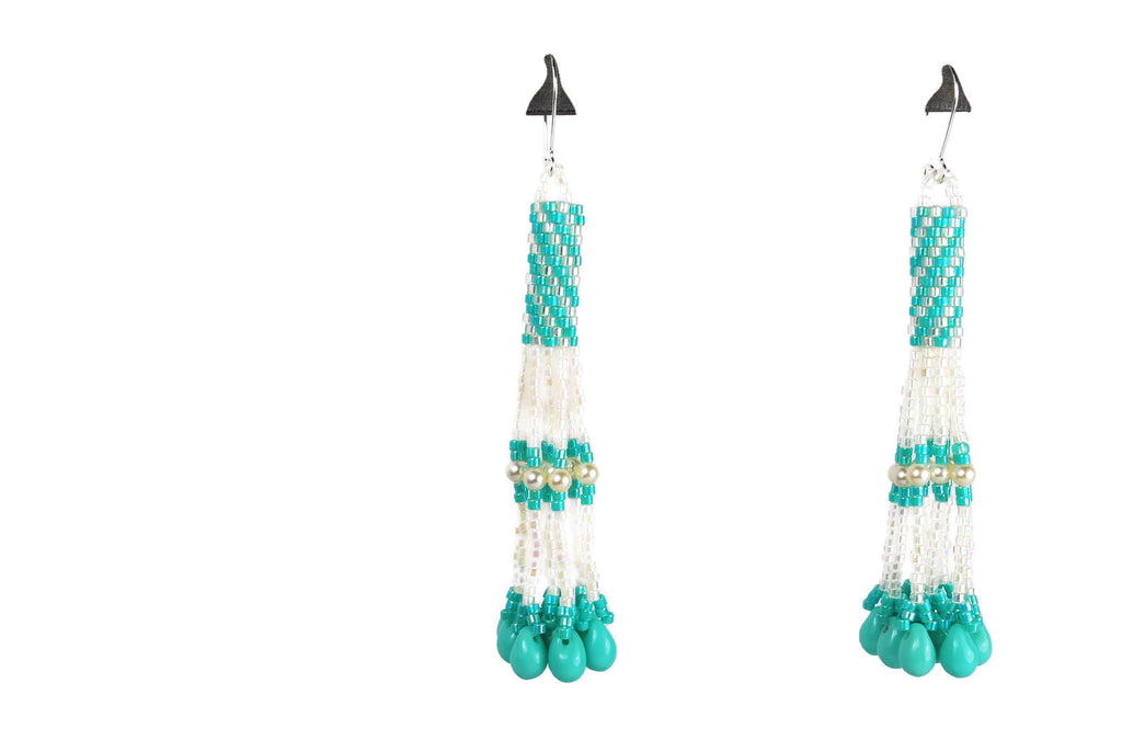Aqua and White Beaded Pearl Tassel Earrings with Drops -  - 1