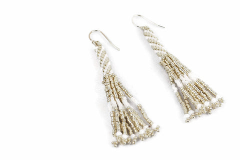 Silver and White Beaded Tassel Earrings