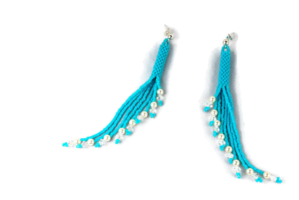 Aqua Beaded Crystal and Pearl Tassel Earrings -  - 1