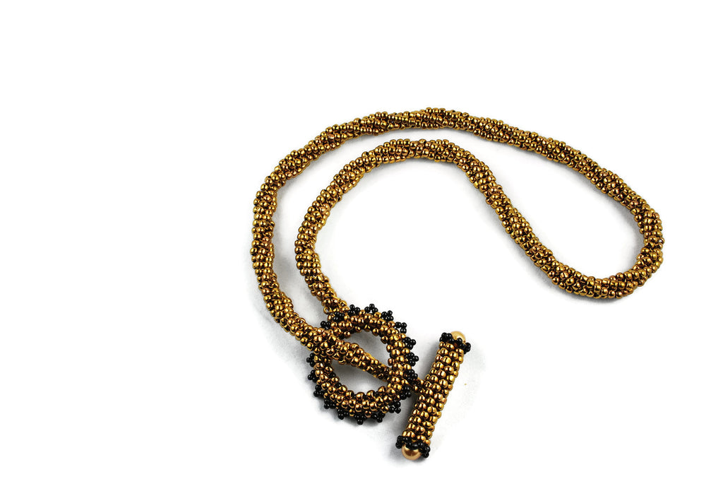 Bronze Twisted Beaded Necklace with Beaded Toggle Clasp -  - 1