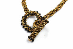 Bronze Twisted Beaded Necklace with Beaded Toggle Clasp -  - 4