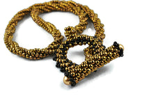 Bronze Twisted Beaded Necklace with Beaded Toggle Clasp -  - 3