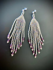 Silver and Light Purple Seed Bead Tassel/Fringe Earrings with Sterling Silver Post