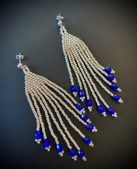 Silver and Blue Seed Bead Tassel/Fringe Earrings with Sterling Silver Post