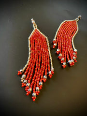 Silver and Orange Seed Bead Tassel/Fringe Earrings with Sterling Silver Post